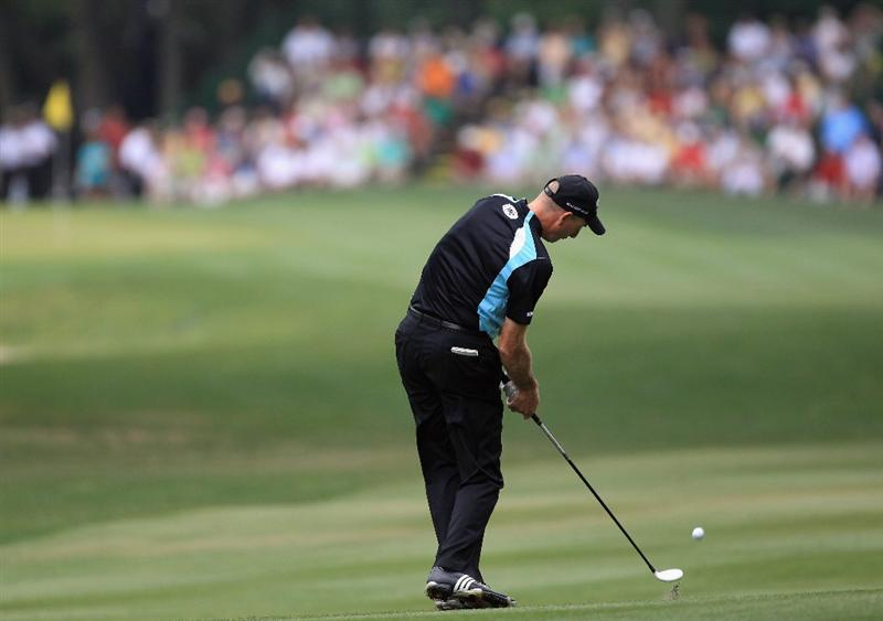 HILTON HEAD ISLAND, SC - APRIL 22:  Jim Furyk hits a shot from the fairway on the 8th hole during the second round of The Heritage at Harbour Town Golf Links on April 22, 2011 in Hilton Head Island, South Carolina.  (Photo by Streeter Lecka/Getty Images)