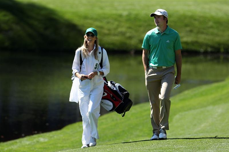 AUGUSTA, GA - APRIL 06:  Martin Laird of Scotland walks with his caddie Meagan Franks during the Par 3 Contest prior to the 2011 Masters Tournament at Augusta National Golf Club on April 6, 2011 in Augusta, Georgia.  (Photo by Andrew Redington/Getty Images)