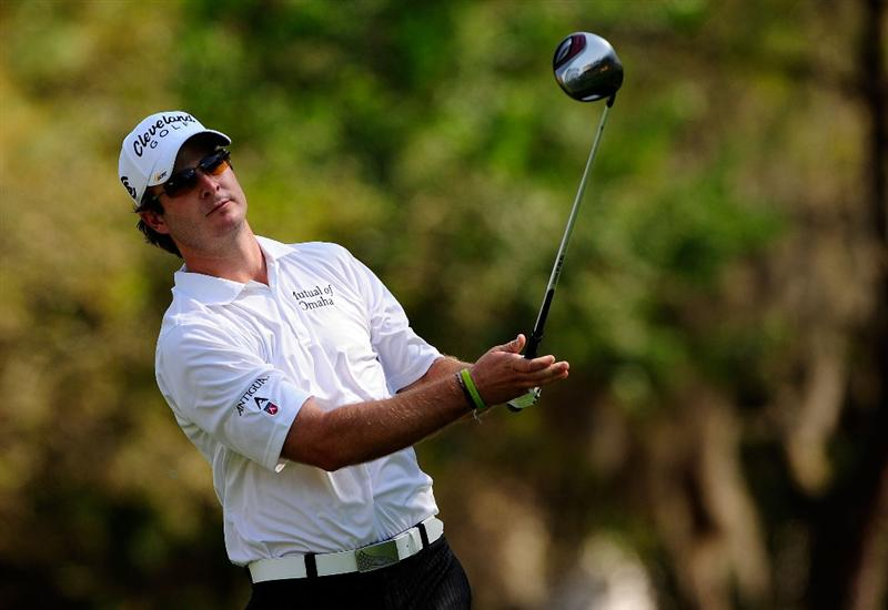 PALM HARBOR, FL - MARCH 20:  Kevin Streelman hits a shot on the 9th hole during the second round of the Transitions Championship at the Innisbrook Resort and Golf Club on March 20, 2009 in Palm Harbor, Florida.  (Photo by Sam Greenwood/Getty Images)