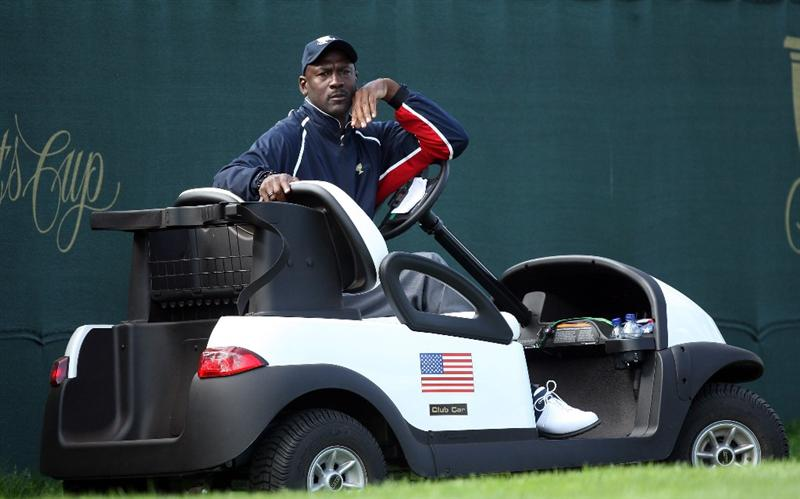 SAN FRANCISCO - OCTOBER 08:  Team assistant Michael Jordan of the USA at the 17th hole during the Day One Foursome Matches in The Presidents Cup at Harding Park Golf Course on October 8, 2009 in San Francisco, California  (Photo by David Cannon/Getty Images)