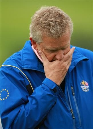 NEWPORT, WALES - SEPTEMBER 30:  Team Captain Colin Montgomerie of Europe looks ponderous during a practice round prior to the 2010 Ryder Cup at the Celtic Manor Resort on September 30, 2010 in Newport, Wales. (Photo by Andrew Redington/Getty Images)