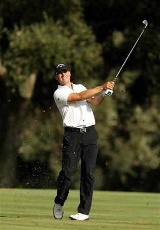 SOTOGRANDE, SPAIN - OCTOBER 30:  Niclas Fasth of Sweden plays into the 14th green during the third round of the Andalucia Valderrama Masters at Club de Golf Valderrama on October 30, 2010 in Sotogrande, Spain.  (Photo by Richard Heathcote/Getty Images)