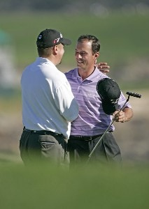 Craig Barlow and Mike Weir on the 18th hole during the first round of the  AT&T Pebble Beach National Pro-Am on the Pebble Beach Golf Links  in Pebble Beach, California on February 9, 2006.Photo by Chris Condon/PGA TOUR/WireImage.com