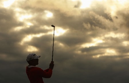 CARNOUSTIE, UNITED KINGDOM - JULY 20:  Gregory Havret of France tees off at the 16th hole during the second round of The 136th Open Championship at the Carnoustie Golf Club on July 20, 2007 in Carnoustie, Scotland.  (Photo by Stuart Franklin/Getty Images)