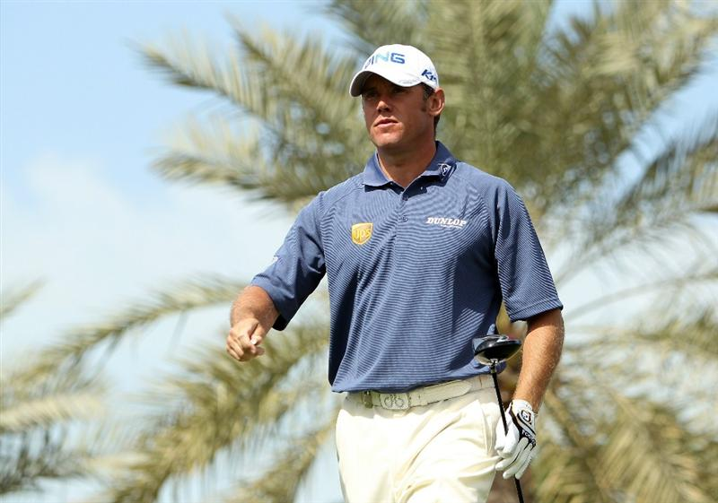 DUBAI, UNITED ARAB EMIRATES - FEBRUARY 13:  Lee Westwood of England looks on during the final round for the 2011 Omega Dubai desert Classic held on the Majilis Course at the Emirates Golf Club on February 13, 2011 in Dubai, United Arab Emirates.  (Photo by Ian Walton/Getty Images)
