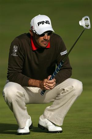 PEBBLE BEACH, CA - JUNE 19:  Gregory Havret of France lines up a putt on the 17th hole during the third round of the 110th U.S. Open at Pebble Beach Golf Links on June 19, 2010 in Pebble Beach, California.  (Photo by Andrew Redington/Getty Images)