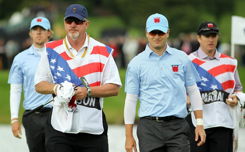 NEWPORT, WALES - OCTOBER 03:  Zach Johnson of the USA walks with caddie Damon Green during the  Fourball & Foursome Matches during the 2010 Ryder Cup at the Celtic Manor Resort on October 3, 2010 in Newport, Wales.  (Photo by Jamie Squire/Getty Images)