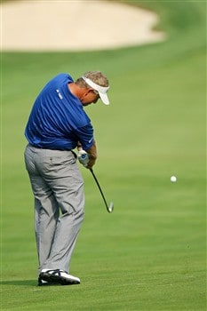 BLOOMFIELD HILLS, MI - AUGUST 05:  Colin Montgomerie of Scotland plays a shot during a practice round prior to the 90th PGA Championship at Oakland Hills Country Club on August 5, 2008 in Bloomfield Township, Michigan.  (Photo by David Cannon/Getty Images)