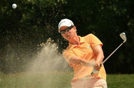MT. PLEASANT, SC - MAY 31:  Karrie Webb of Australia plays a bunker shot on the third hole during the third round of the Ginn Tribute at RiverTowne Country Club on May 31, 2008 in Mt. Pleasant, South Carolina.  (Photo by Scott Halleran/Getty Images)