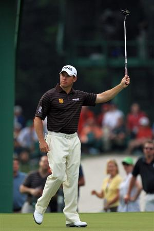 AUGUSTA, GA - APRIL 08:  Lee Westwood of England celebrates an eagle putt on the 15th hole during the second round of the 2011 Masters Tournament at Augusta National Golf Club on April 8, 2011 in Augusta, Georgia.  (Photo by David Cannon/Getty Images)