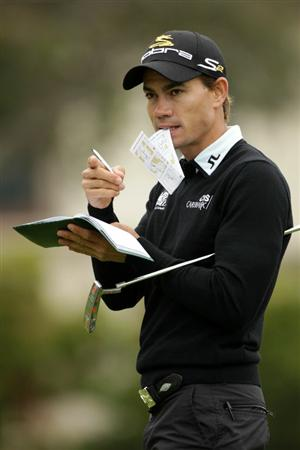 PEBBLE BEACH, CA - JUNE 15:  Camilo Villegas of Colombia looks on during a practice round prior to the start of the 110th U.S. Open at Pebble Beach Golf Links on June 15, 2010 in Pebble Beach, California.  (Photo by Andrew Redington/Getty Images)
