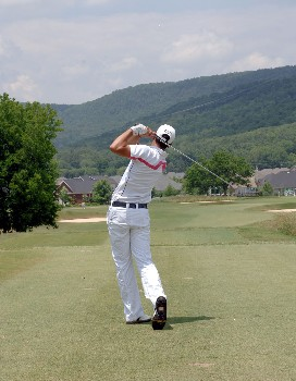 James Nitties tees off on the 8th hole during the Final Round of the Chattanooga Classic at Black Creek Club in Chattanooga, Tennessee on June 5, 2005.Photo by Joe Murphy/WireImage.com