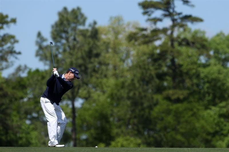 AUGUSTA, GA - APRIL 09:  Tom Watson hits a shot on the first hole during the second round of the 2010 Masters Tournament at Augusta National Golf Club on April 9, 2010 in Augusta, Georgia.  (Photo by Andrew Redington/Getty Images)