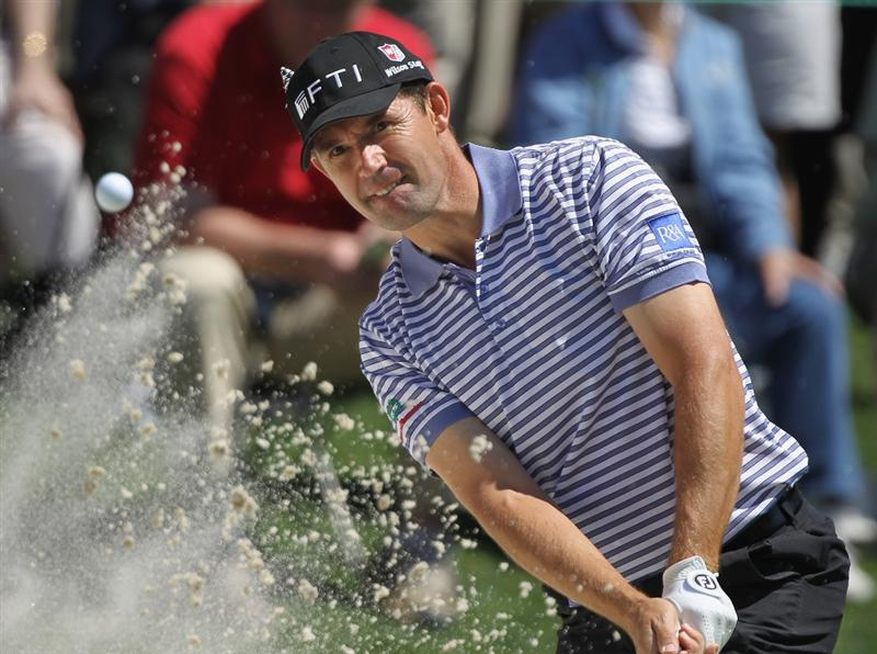 CHARLOTTE, NC - MAY 05:  Padraig Harrington of Ireland hits a bunker shot on the sixth hole during the first round of the Wells Fargo Championship at the Quail Hollow Club on May 5, 2011 in Charlotte, North Carolina.  (Photo by Scott Halleran/Getty Images)