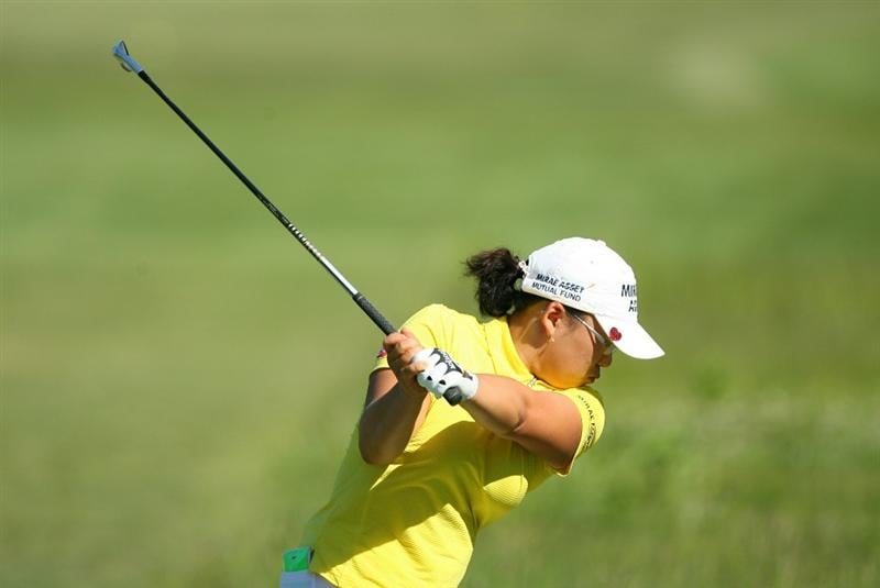 GLADSTONE, NJ - MAY 20 : Jiyai Shin of South Korea hits her tee shot on the 16th hole during the first round of the Sybase Match Play Championship at Hamilton Farm Golf Club on May 20, 2010 in Gladstone, New Jersey. (Photo by Hunter Martin/Getty Images)