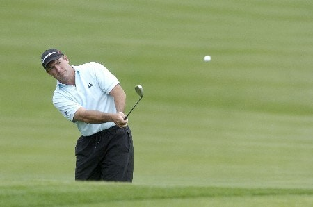 Peter Lonard chips to the 18th hole during the first round of the Wachovia Championship on Thursday, May 5, 2005 at the Quail Hollow Club in Charlotte, North Carolina.Photo by Marc Feldman/WireImage.com