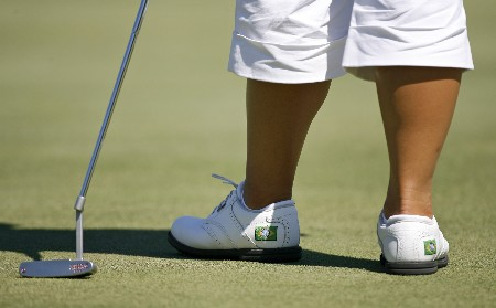 SPRINGFIELD, IL - AUGUST 31: Angela Park of Brazil, wearing shoes with the flag of Brazil on them, stands on the 3rd green during the second round of the State Farm Classic at Panther Creek Country Club on August 31, 2007 in Springfield, Illinois. (Photo by Hunter Martin/Getty Images)