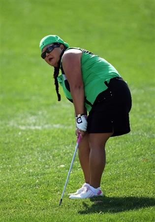 RANCHO MIRAGE, CA - APRIL 02:  Christina  Kim of the USA hits her third shot at the 9th hole during the first round of the 2009 Kraft Nabisco Championship, at the Mission Hills Country Club on April 2, 2009 in Rancho Mirage, California  (Photo by David Cannon/Getty Images)