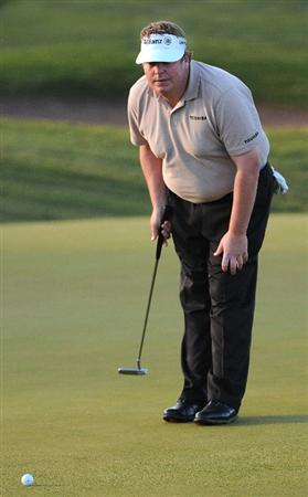 LAS VEGAS- OCTOBER 16:  Tim Herron looks over a birdie putt on the 12th hole during the first round of the Justin Timberlake Shriners Hospitals for Children Open held at the TPC Summerlin on October 16, 2008 in Las Vegas, Nevada. (Photo by Marc Feldman/Getty Images)