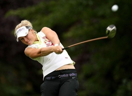PORTLAND, OR - AUGUST 25:  Minea Blomqvist tees off on the 9th hole during the second round of LPGA Safeway Classic at the Columbia Edgewater Country Club August 25, 2007 in Portland, Oregon.  (Photo by Jonathan Ferrey/Getty Images)