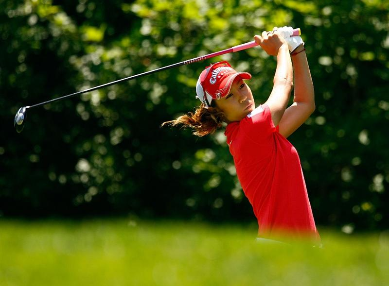 BETHLEHEM, PA - JULY 12:  Momoko Ueda of Japan hits her tee shot on the ninth hole during the final round of the 2009 U.S. Women's Open at the Saucon Valley Country Club on July 12, 2009 in Bethlehem, Pennsylvania.  (Photo by Scott Halleran/Getty Images)