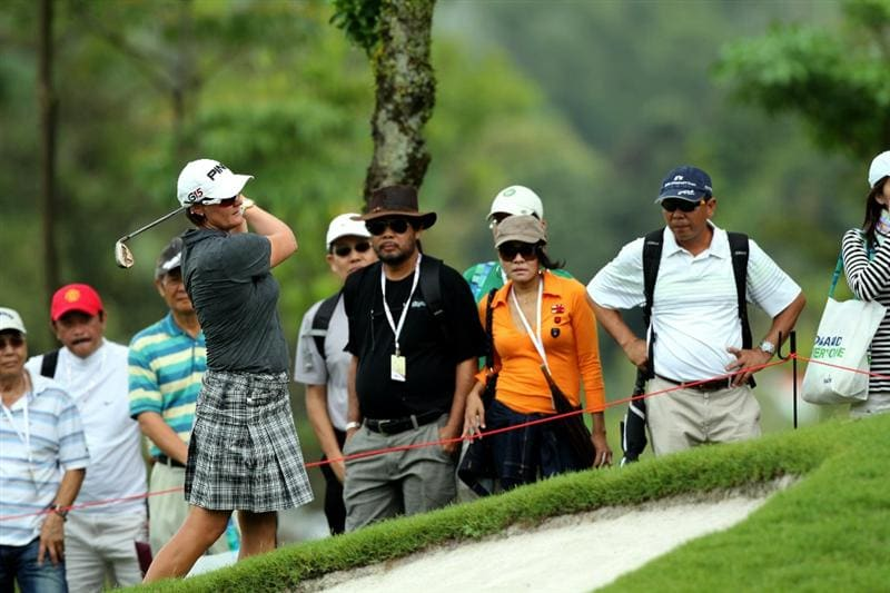 KUALA LUMPUR, MALAYSIA - OCTOBER 24 : Maria Hjorth of Sweden hits her 2nd shot on the 1st hole during the Final Round of the Sime Darby LPGA on October 24, 2010 at the Kuala Lumpur Golf and Country Club in Kuala Lumpur, Malaysia. (Photo by Stanley Chou/Getty Images)