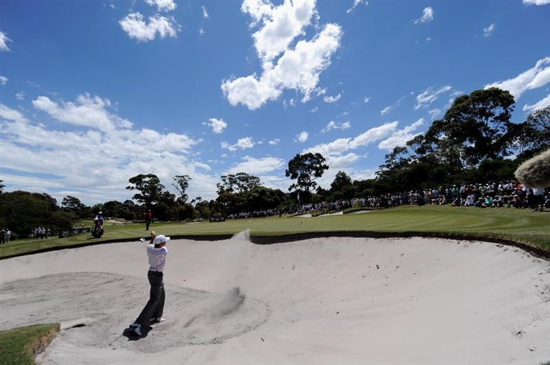MELBOURNE, AUSTRALIA - NOVEMBER 30:  Michael Sim of Australia plays a shot out of the bunker during the fourth round of the 2008 Australian Masters at Huntingdale Golf Club on November 30, 2008 in Melbourne, Australia  (Photo by Robert Cianflone/Getty Images)
