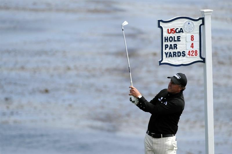 PEBBLE BEACH, CA - JUNE 20:  Phil Mickelson hits his tee shot on the eighth hole during the final round of the 110th U.S. Open at Pebble Beach Golf Links on June 20, 2010 in Pebble Beach, California.  (Photo by Harry How/Getty Images)