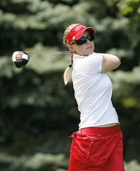 ROCHESTER, NY - JUNE 21: Morgan Pressel hits her tee shot on the 6th hole during the third round of the Wegmans LPGA at Locust Hill Country Club on June 21, 2008 in Rochester, New York. (Photo by Hunter Martin/Getty Images)