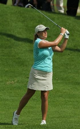 KUALA LUMPUR, MALAYSIA - OCTOBER 22: Cristie Kerr of the USA hits her 2nd shot on the 1st hole during Round One of the Sime Darby LPGA on October 22, 2010 at the Kuala Lumpur Golf and Country Club in Kuala Lumpur, Malaysia. (Photo by Stanley Chou/Getty Images)