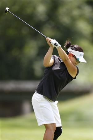 SYLVANIA, OH - JULY 05:  Eunjung Yi of South Korea hits her tee shot on the third hole during the final round of the Jamie Farr Owens Corning Classic at Highland Meadows Golf Club on July 5, 2009 in Sylvania, Ohio.  (Photo by Gregory Shamus/Getty Images)
