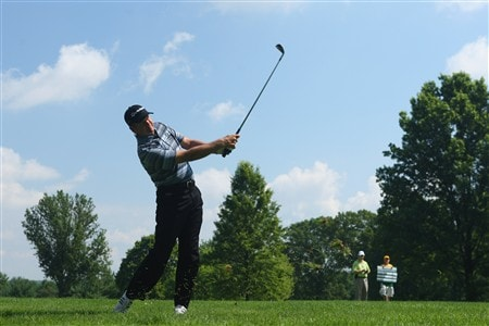 AKRON, OH - JULY 31:  Retief Goosen of South Africa plays his approach shot on the 11th hole during first round of the World Golf Championship Bridgestone Invitational on July 31, 2008 at Firestone Country Club in Akron, Ohio.  (Photo by Stuart Franklin/Getty Images)