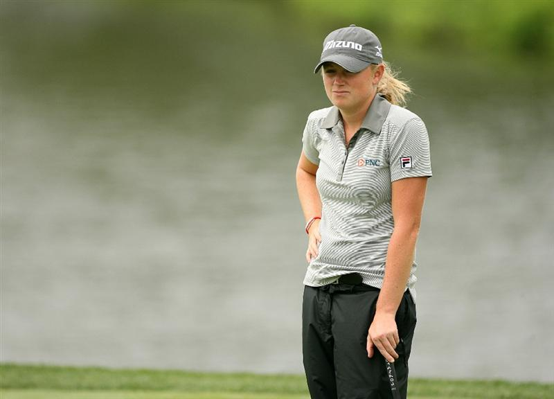 WILLIAMSBURG, VA : Stacy Lewis stands on the 18th green during the first round of the Michelob Ultra Open at Kingsmill Resort on May 7, 2009 in Williamsburg, Va. (Photo by Hunter Martin/Getty Images)