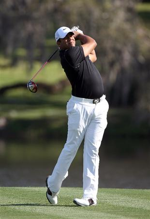 ORLANDO, FL - MARCH 25:  Jhonattan Vegas of Venezuela plays a shot on the 16th hole during the second round of the Bay Hill Invitational presented by MasterCard at the Bay Hill Club and Lodge on March 25, 2011 in Orlando, Florida.  (Photo by Sam Greenwood/Getty Images)