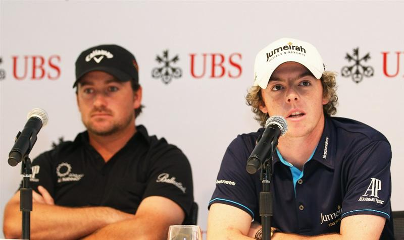 HONG KONG - NOVEMBER 16:  Graeme McDowell and Rory McIlroy of Northern Ireland speak to the press during the UBS Press Conference at the International Finance Centre on November 16, 2010 in Hong Kong, Hong Kong.  (Photo by Ian Walton/Getty Images)