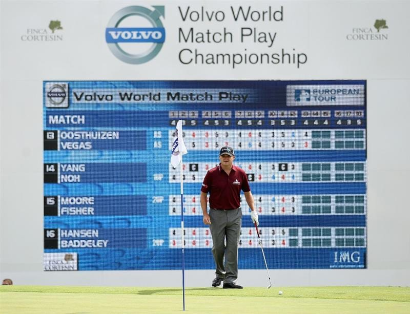 CASARES, SPAIN - MAY 20:  Paul Lawrie of Scotland looks on from the 18th green during the group stages of the Volvo World Match Play Championships at Finca Cortesin on May 20, 2011 in Casares, Spain.  (Photo by Warren Little/Getty Images)