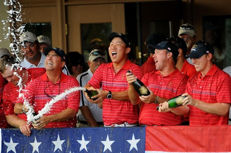 LOUISVILLE, KY - SEPTEMBER 21:  Memebers of the USA team celebrate after the USA 16 1/2 - 11 1/2 victory on the final day of the 2008 Ryder Cup at Valhalla Golf Club on September 21, 2008 in Louisville, Kentucky.  (Photo by Sam Greenwood/Getty Images)