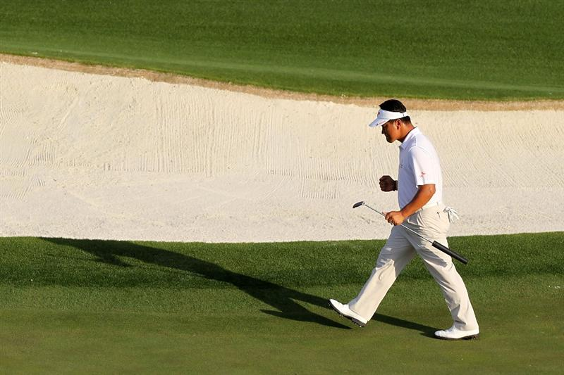 AUGUSTA, GA - APRIL 07:  K.J. Choi of Korea walks up the 18th hole during the first round of the 2011 Masters Tournament at Augusta National Golf Club on April 7, 2011 in Augusta, Georgia.  (Photo by Jamie Squire/Getty Images)