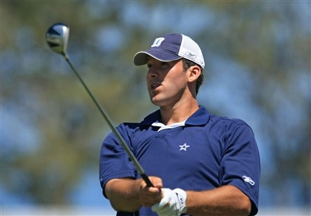 LA JOLLA, CA - JUNE 06:  NFL quarterback Tony Romo hits a shot during the Golf Digest U.S. Open Challenge at the Torrey Pines Golf Course on June 6, 2008 in La Jolla, California.  (Photo by Scott Halleran/Getty Images)