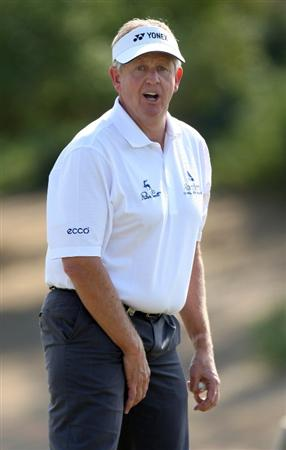 ABU DHABI, UNITED ARAB EMIRATES - JANUARY 16:  Colin Montgomerie of Scotland after he chipped in for a birdie on the par five 8th hole during the second round of the Abu Dhabi Golf Championship at the Abu Dhabi Golf Club on January 16, 2009 in Abu Dhabi, United Arab Emirates.  (Photo by Ross Kinnaird/Getty Images)