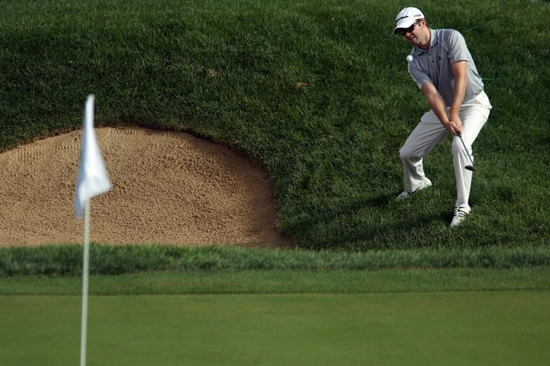 LEMONT, IL - SEPTEMBER 09:  Martin Laird of Scotland plays a bunker shot on the 14th hole during the first round of the BMW Championship at Cog Hill Golf & Country Club on September 9, 2010 in Lemont, Illinois.  (Photo by Scott Halleran/Getty Images)