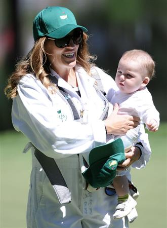 AUGUSTA, GA - APRIL 06:  Amy Sabbatini, wife of Rory Sabbatini of South Africa (not pictured) holds their son Bodie during the Par 3 Contest prior to the 2011 Masters Tournament at Augusta National Golf Club on April 6, 2011 in Augusta, Georgia.  (Photo by Harry How/Getty Images)