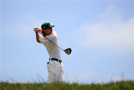 SAN DIEGO - JUNE 15:  Camilo Villegas of Colombia watches his tee shot on the fourth hole during the final round of the 108th U.S. Open at the Torrey Pines Golf Course (South Course) on June 15, 2008 in San Diego, California.  (Photo by Doug Pensinger/Getty Images)