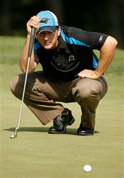 CHARLOTTE, NC - MAY 02:  Ben Curtis lines up a putt on the 1st hole during the second round of the Wachovia Championship at Quail Hollow Country Club on May 2, 2008 in Charlotte, North Carolina.  (Photo by Streeter Lecka/Getty Images)
