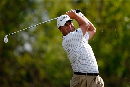 AVONDALE, LA - MARCH 28:  Jay Williamson tees off on the 14th hole during the second round of the Zurich Classic of New Orleans at TPC Louisiana March 28, 2008 in Avondale, Louisiana. Williamson finished the day with a 69, for a total of 7 under par.  (Photo by Chris Graythen/Getty Images)