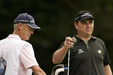Gary Murphy selects a club during the final round of the 2005 BMW Championship at Wentworth Golf Club's West Course. May 29, 2005Photo by Pete Fontaine/WireImage.com