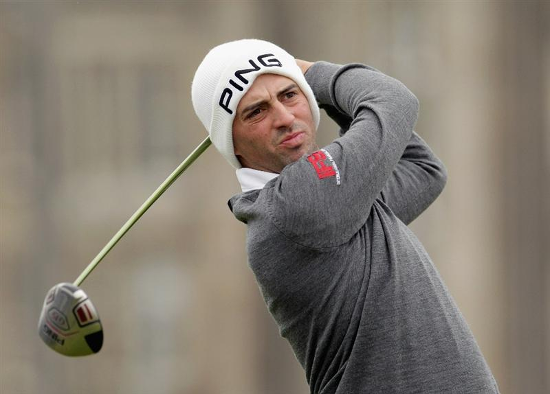 ST ANDREWS, SCOTLAND - OCTOBER 10:  John Parry of England drives off the second tee during the final round of The Alfred Dunhill Links Championship at The Old Course on October 10, 2010 in St Andrews, Scotland.  (Photo by Andrew Redington/Getty Images).