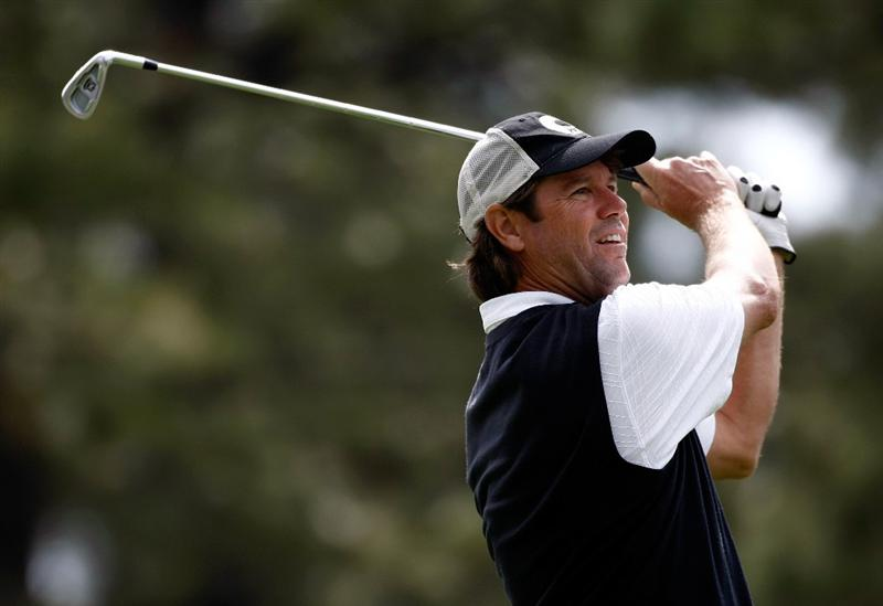 RENO, NV - AUGUST 07:  Paul Azinger tees off on the 12th hole during the second round of the Legends Reno-Tahoe Open on August 7, 2009 at Montreux Golf and Country Club in Reno, Nevada.  (Photo by Jonathan Ferrey/Getty Images)