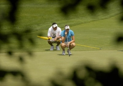 Brittany Lang read her putt on the seventh hole during the first round of the Wegmans LPGA in Rochester, New York, Thursday, June 22, 2006.Photo by Kevin Rivoli/WireImage.com