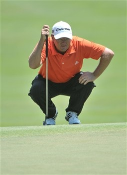 MEMPHIS, TN - JUNE 07:  Gavin Coles of Australia lines up a birdie putt on the 9th hole during the third round of the Stanford St. Jude Championship at the TPC Southwind on June 7, 2008 in Memphis, Tennessee.  (Photo by Marc Feldman/Getty Images)